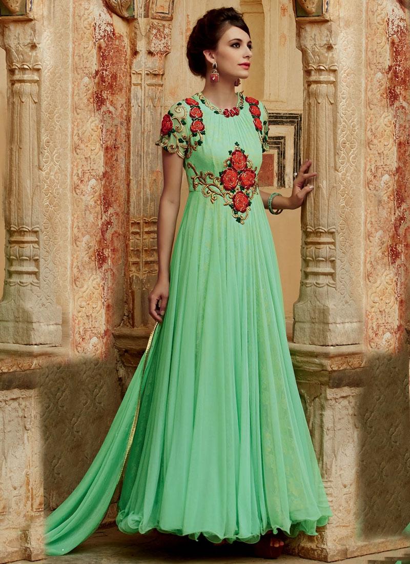 Astounding Floral Work Ankle Length Designer Suit
