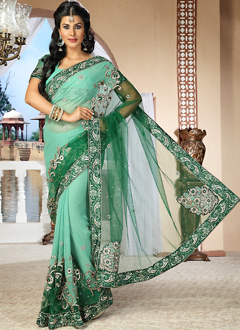 Astounding Green Shaded Net Saree