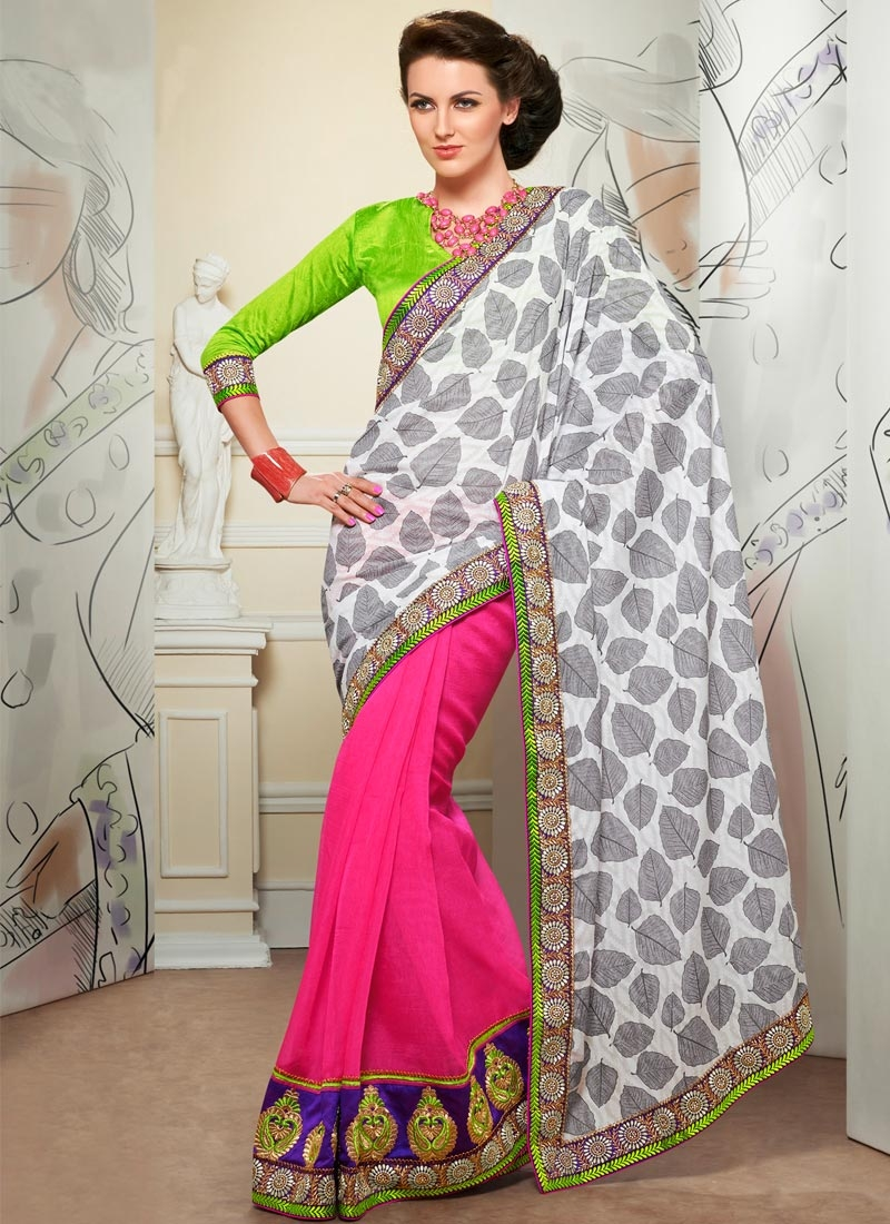 Astounding Jacquard And Jute Silk Half N Half Party Wear Saree