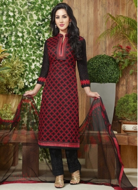 Astounding Lace Work Black and Red Pant Style Straight Salwar Kameez