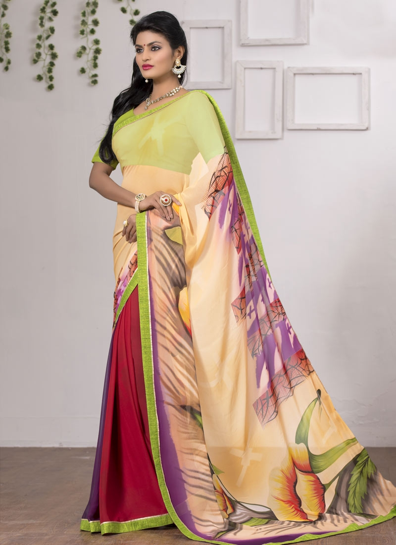 Astounding Lace Work Faux Georgette Casual Saree