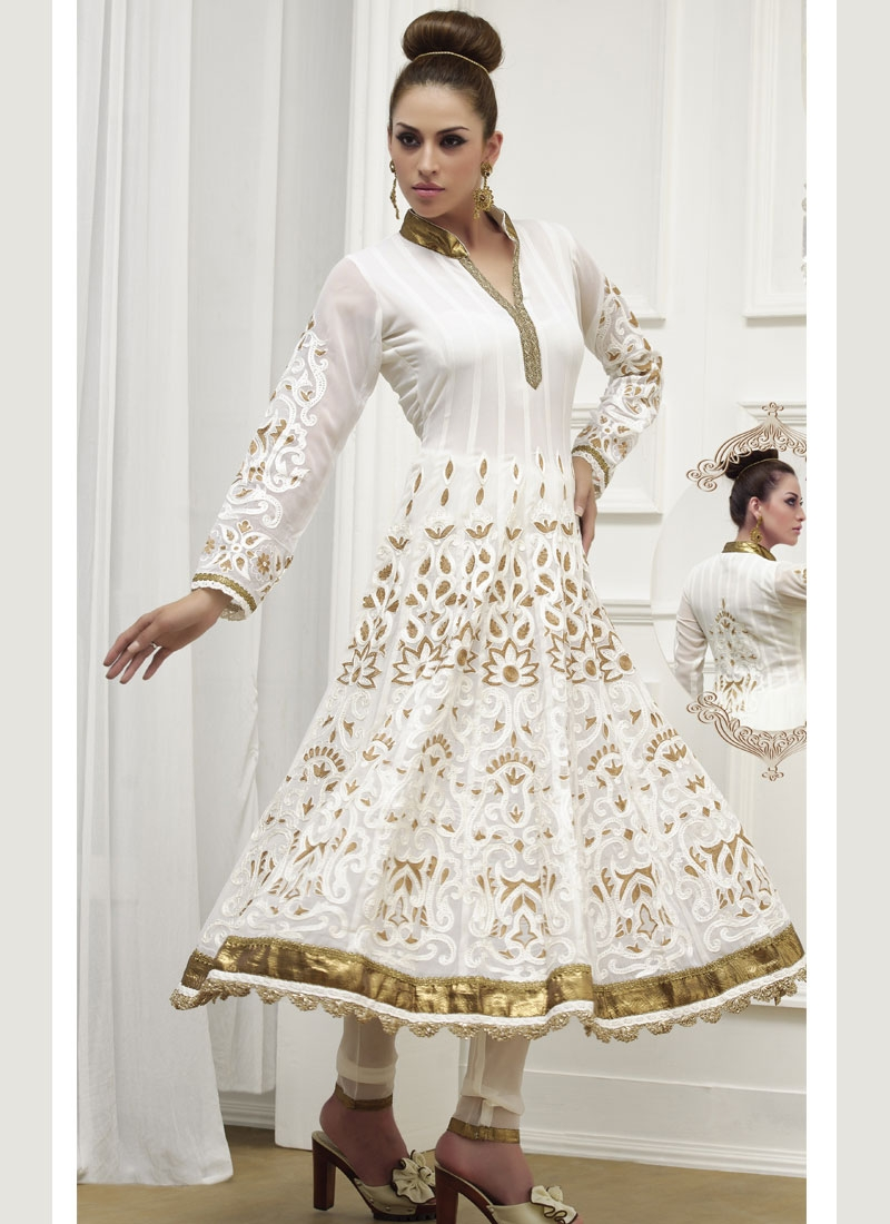 Astounding Off White And Brown Readymade Salwar Suit
