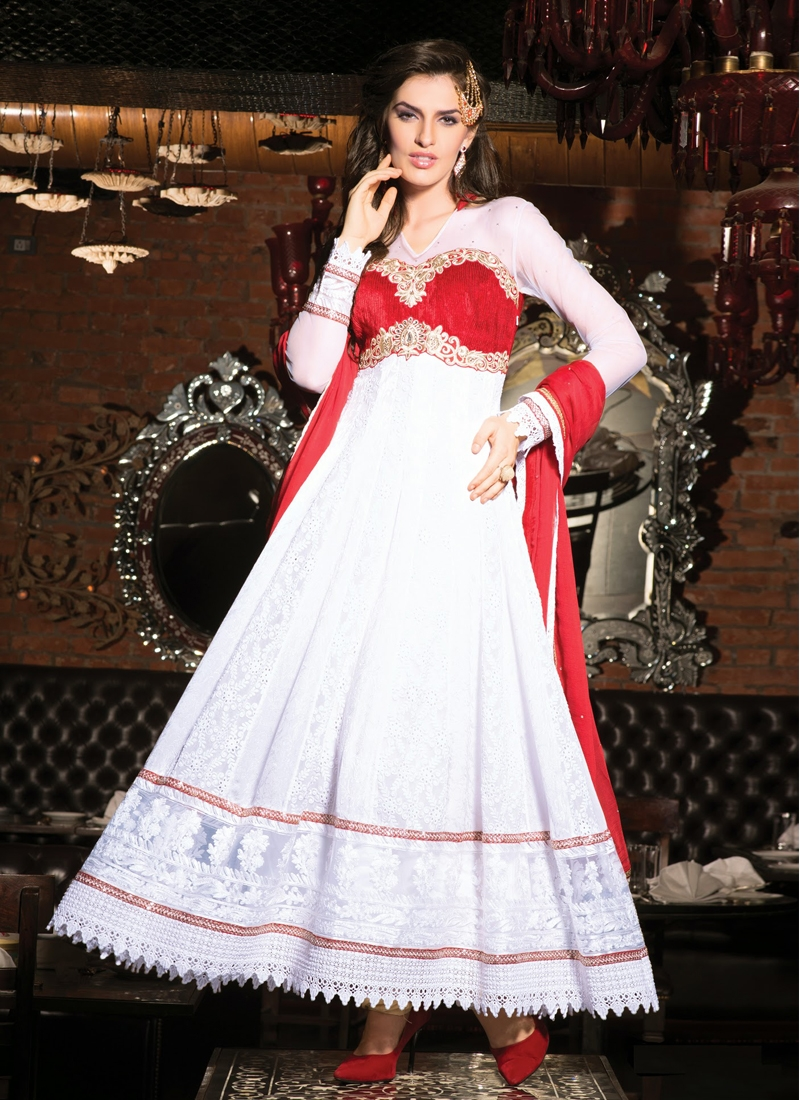 Astounding Red And Off White Color Anarkali Suit