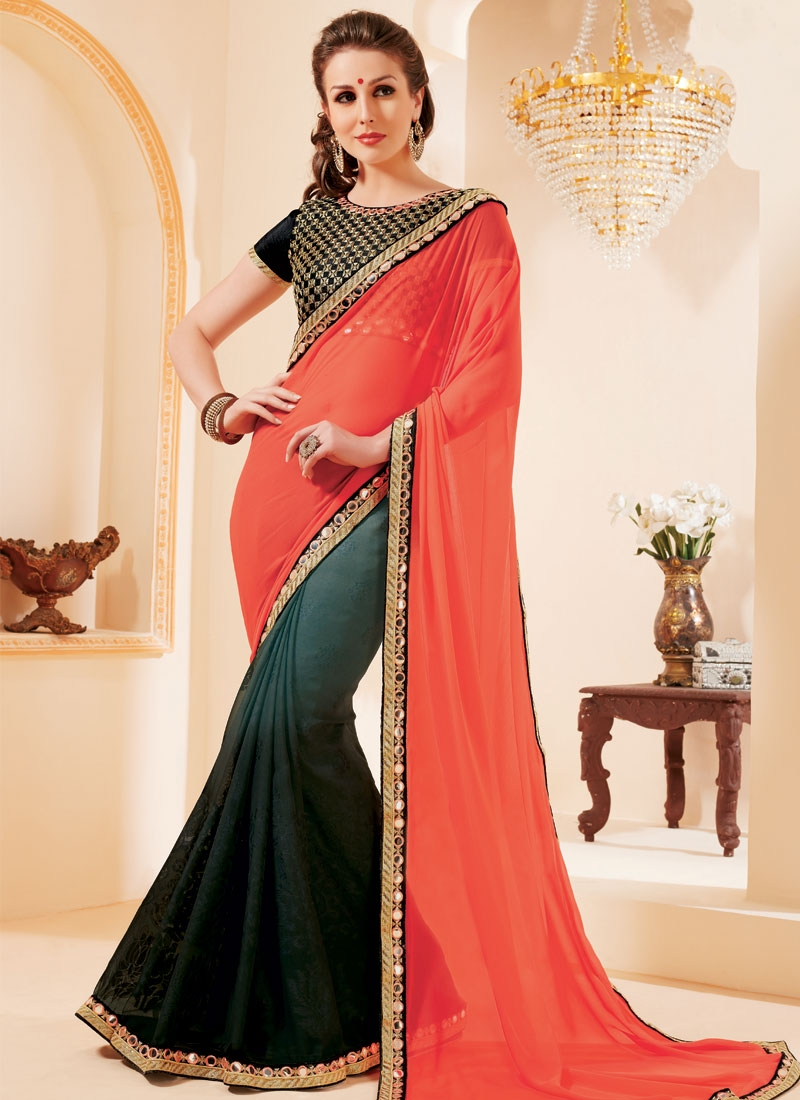 Astounding Resham And Mirror Work Half N Half Party Wear Saree