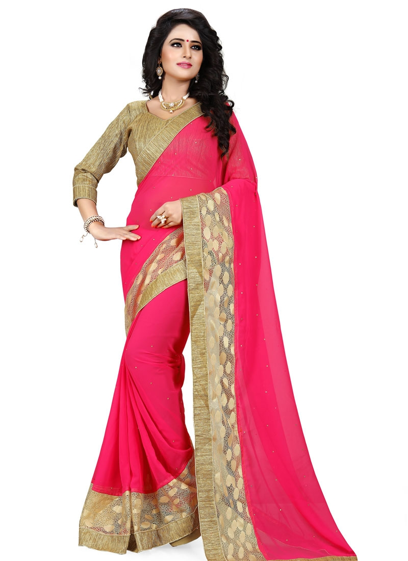Astounding Rose Pink Color Resham Work Party Wear Saree