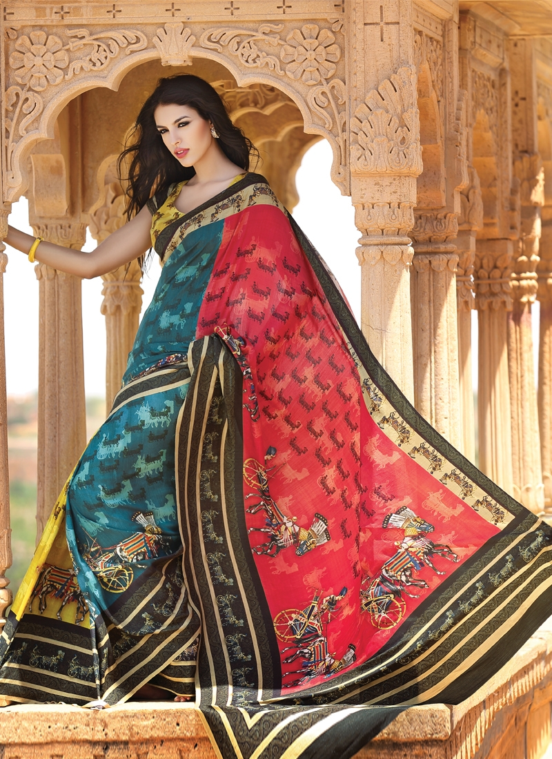Astounding Teal And Red Party Wear Saree