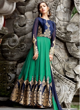 Astounding Velvet Patch Work Long Length Wedding Salwar Kameez