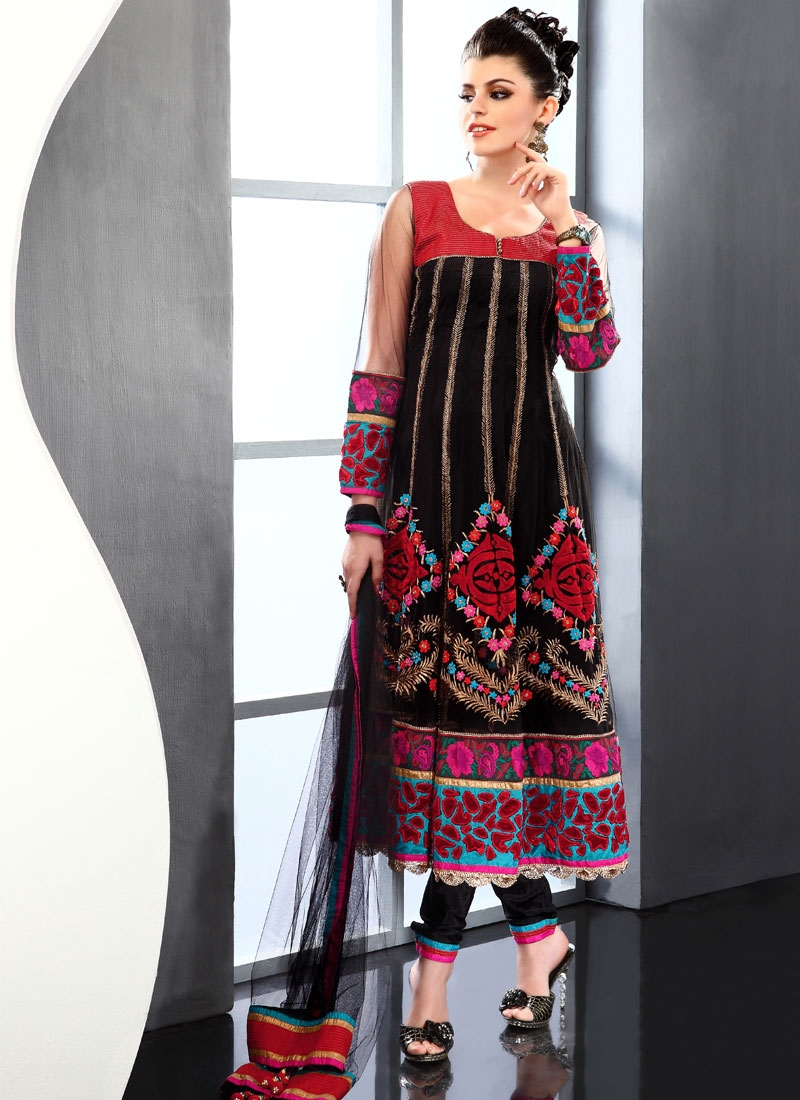 Attractive Black And Red Readymade Salwar Kameez