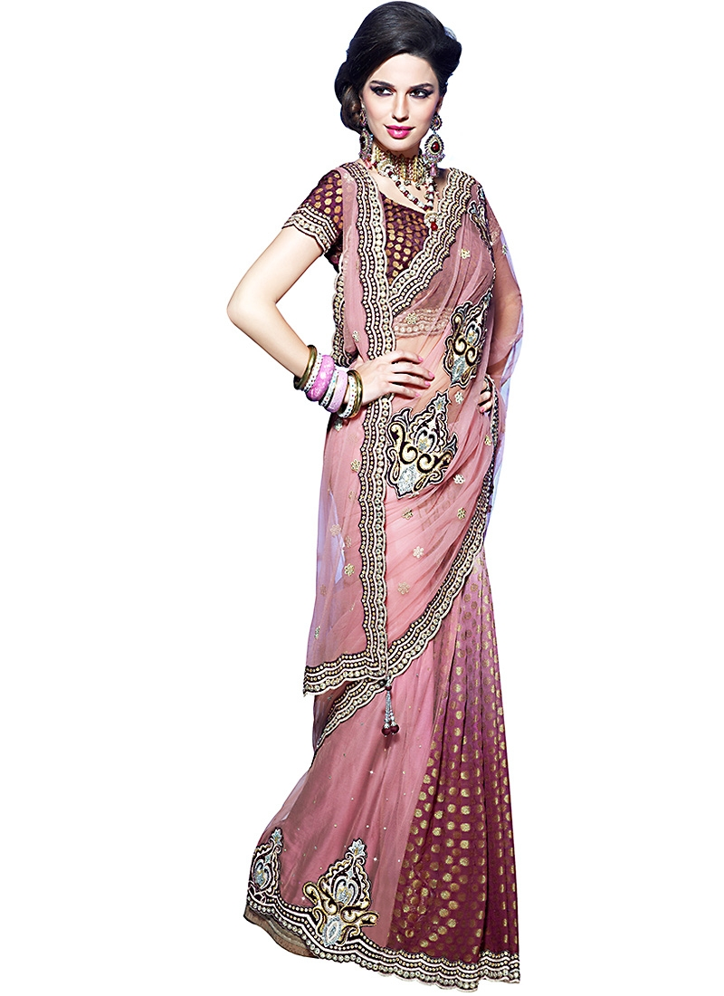 Attractive Brown And Pink Lehenga Saree
