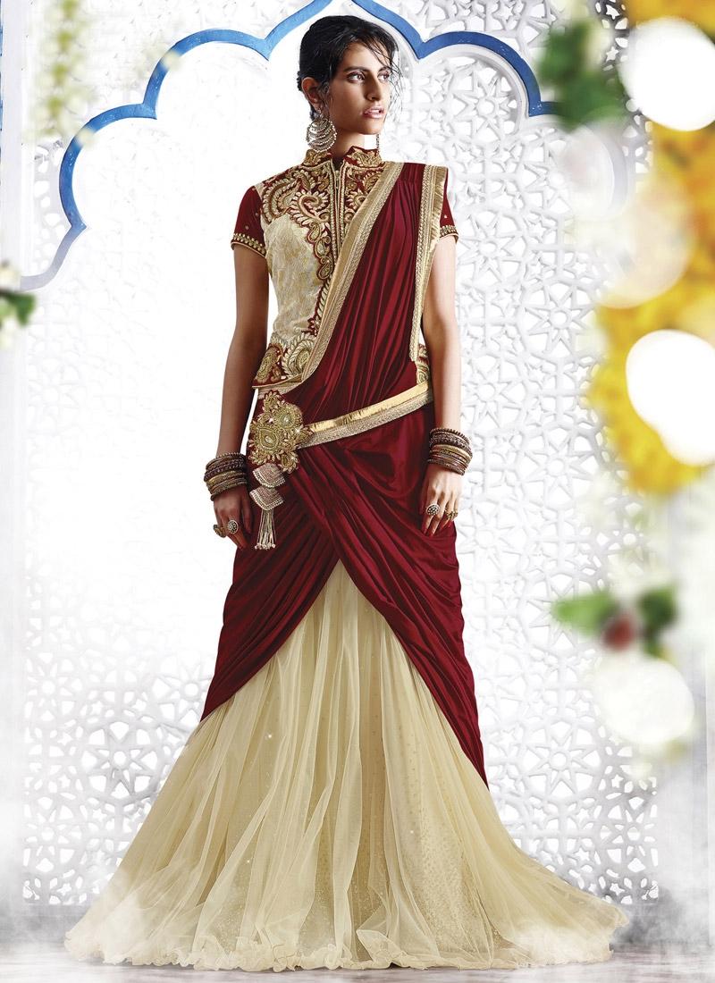 Attractive Cream and Maroon Embroidered Work Designer Lehenga Style Saree