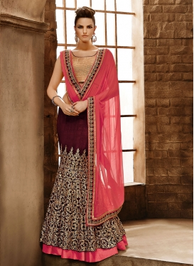 Attractive Embroidery Work Designer Lehenga Saree