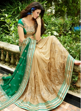 Attractive Faux Georgette Half N Half Wedding Saree