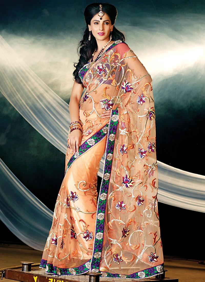 Attractive Floral Work Net Saree