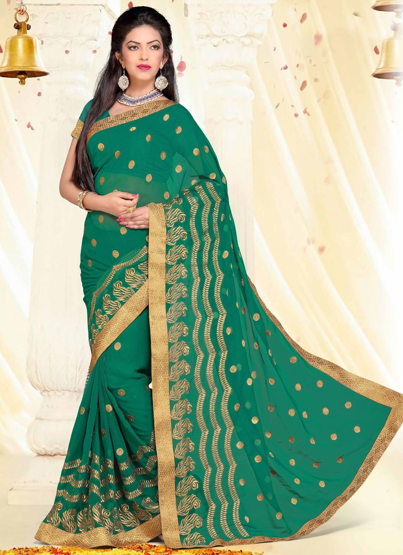 Attractive Green Color Stone Work Party Wear Saree