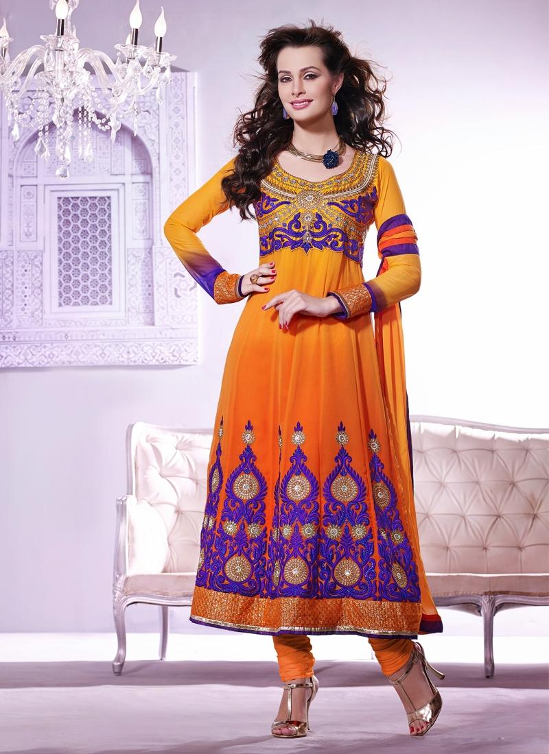 Attractive Orange Color Georgette Wedding Suit