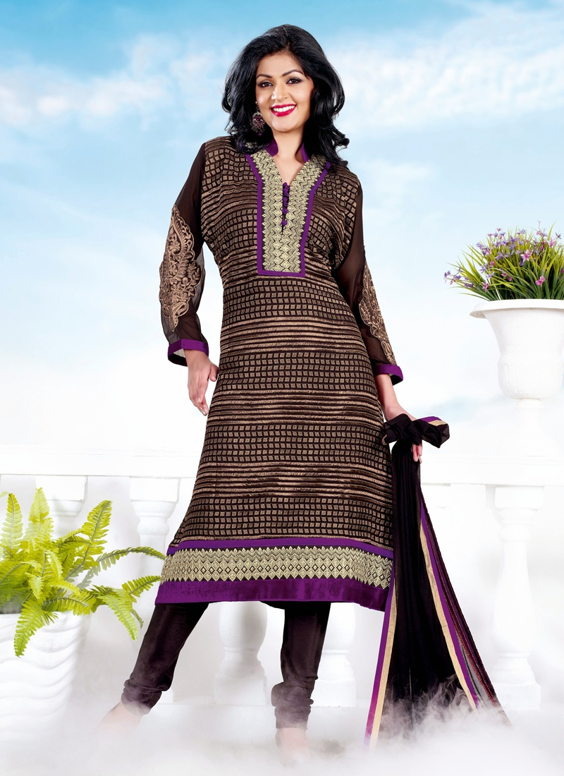 Attractive Patch And Lace Work Churidar Suit