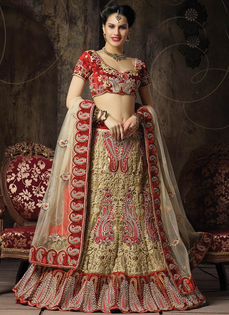 Attractive Patch Border Work Net Bridal Lehenga Choli