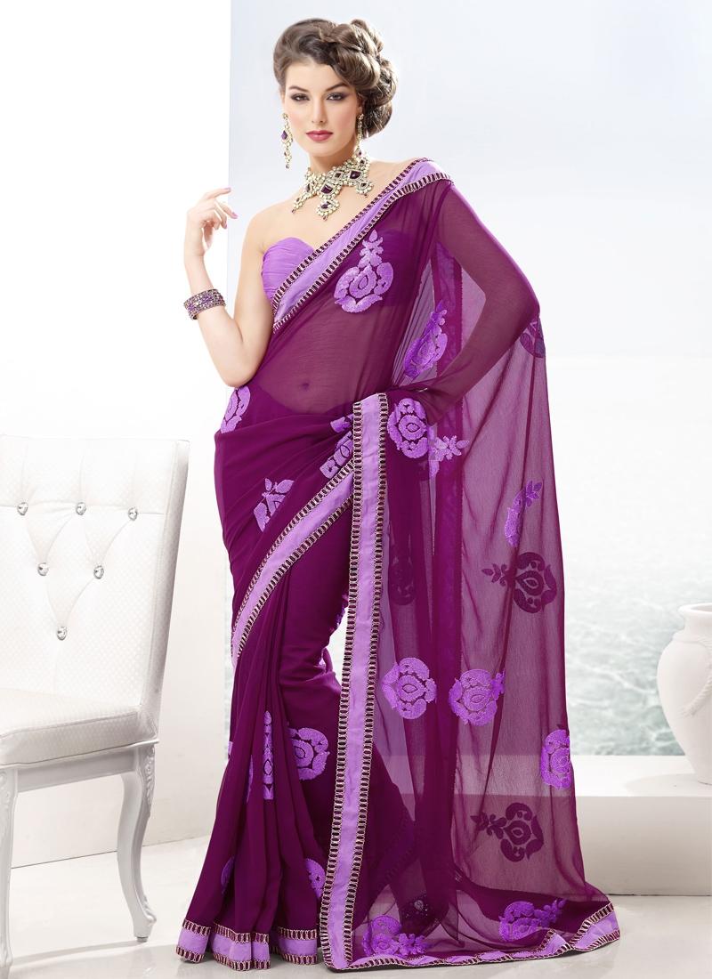 Attractive Purple Chiffon Casual Saree