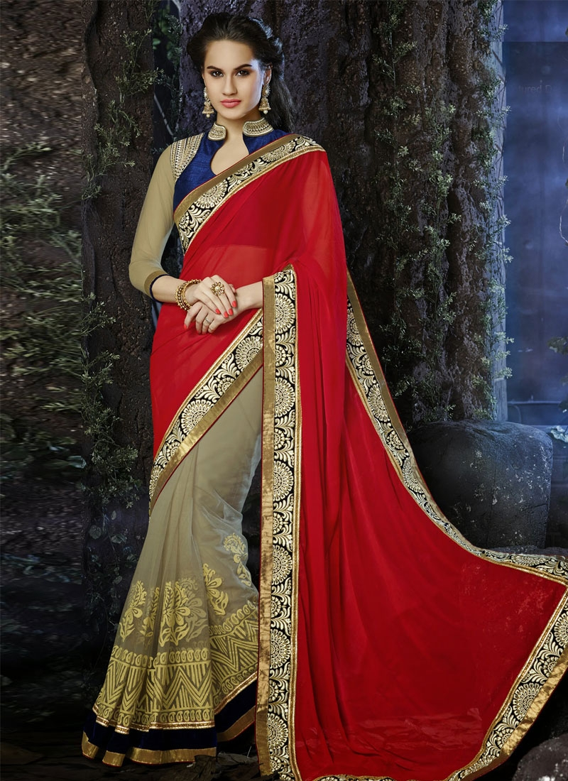 Attractive Resham Work Block Printed Half N Half Designer Saree