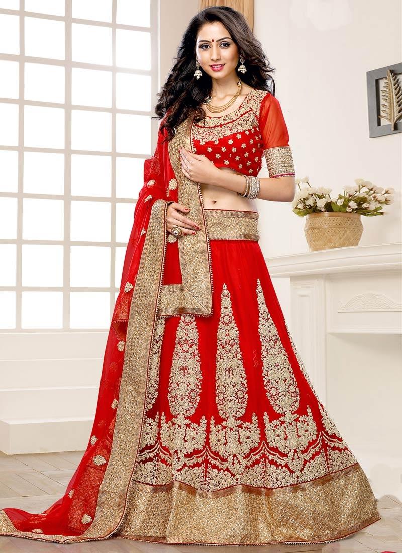 Attractive Resham Work Red Color Wedding Lehenga Choli