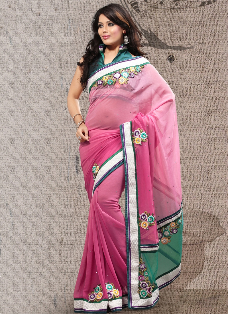 Attractive Rose Pink Color Lace Work Party Wear Saree