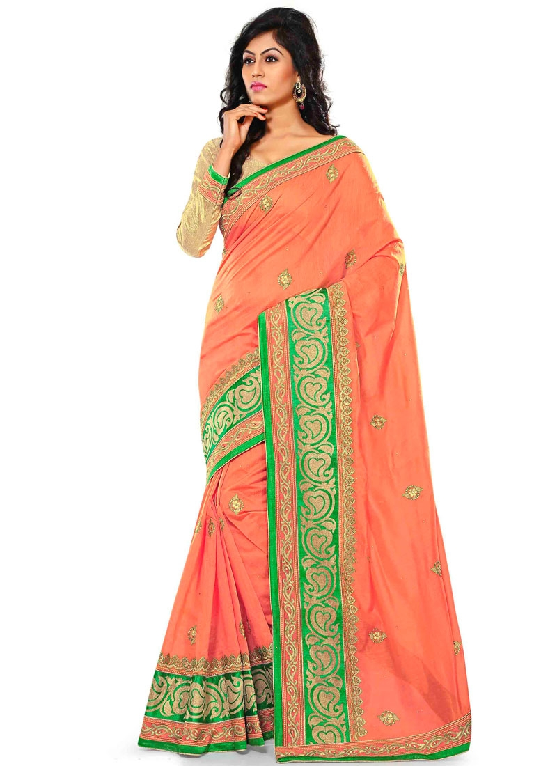 Attractive Stone Work Chanderi Silk Party Wear Saree