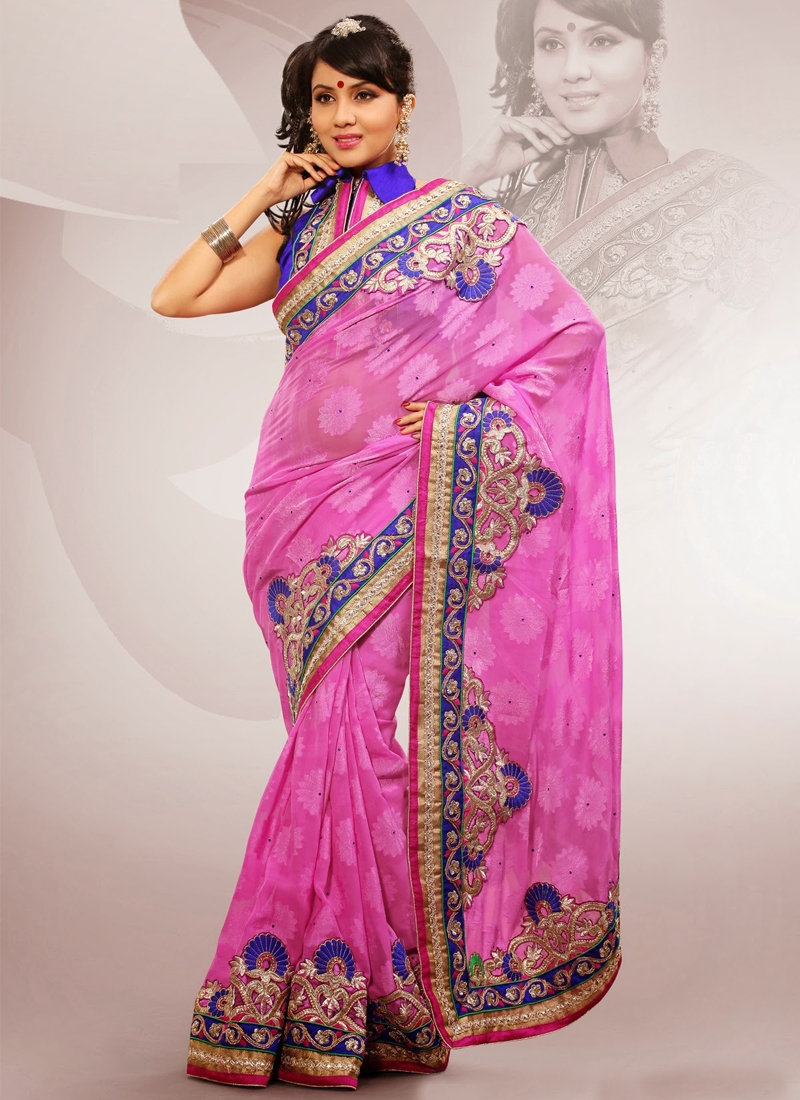 Attractive Stones Enhanced Party Wear Saree