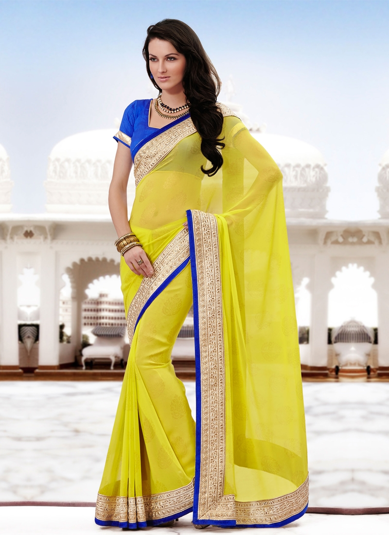 Attractive Yellow Color Georgette Party Wear Saree