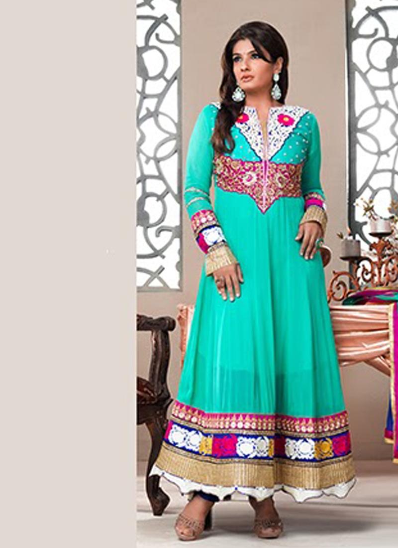 Auspicious Aqua Blue Raveena Tandon Suit