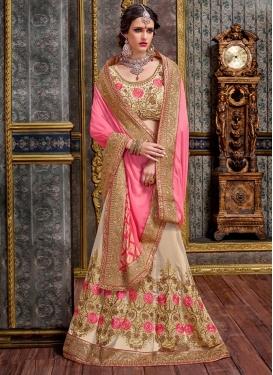 Auspicious Beige and Pink  Designer Lehenga Style Saree