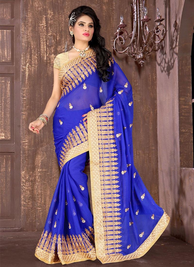 Auspicious Blue Color Chiffon Satin Designer Saree