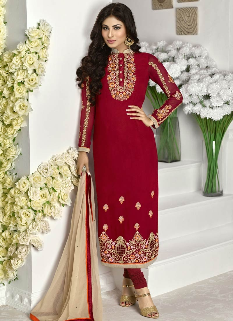 Auspicious Booti Work Crimson Color Pakistani Salwar Suit