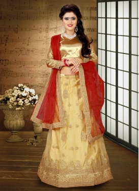 Auspicious Cream and Red Booti Work A - Line Lehenga