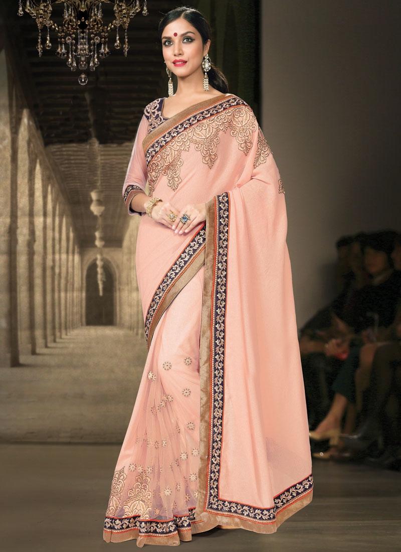 Auspicious Embroidery Work Net Designer Saree