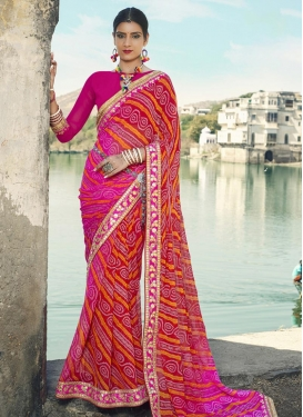 Auspicious Faux Georgette Magenta and Red Classic Saree