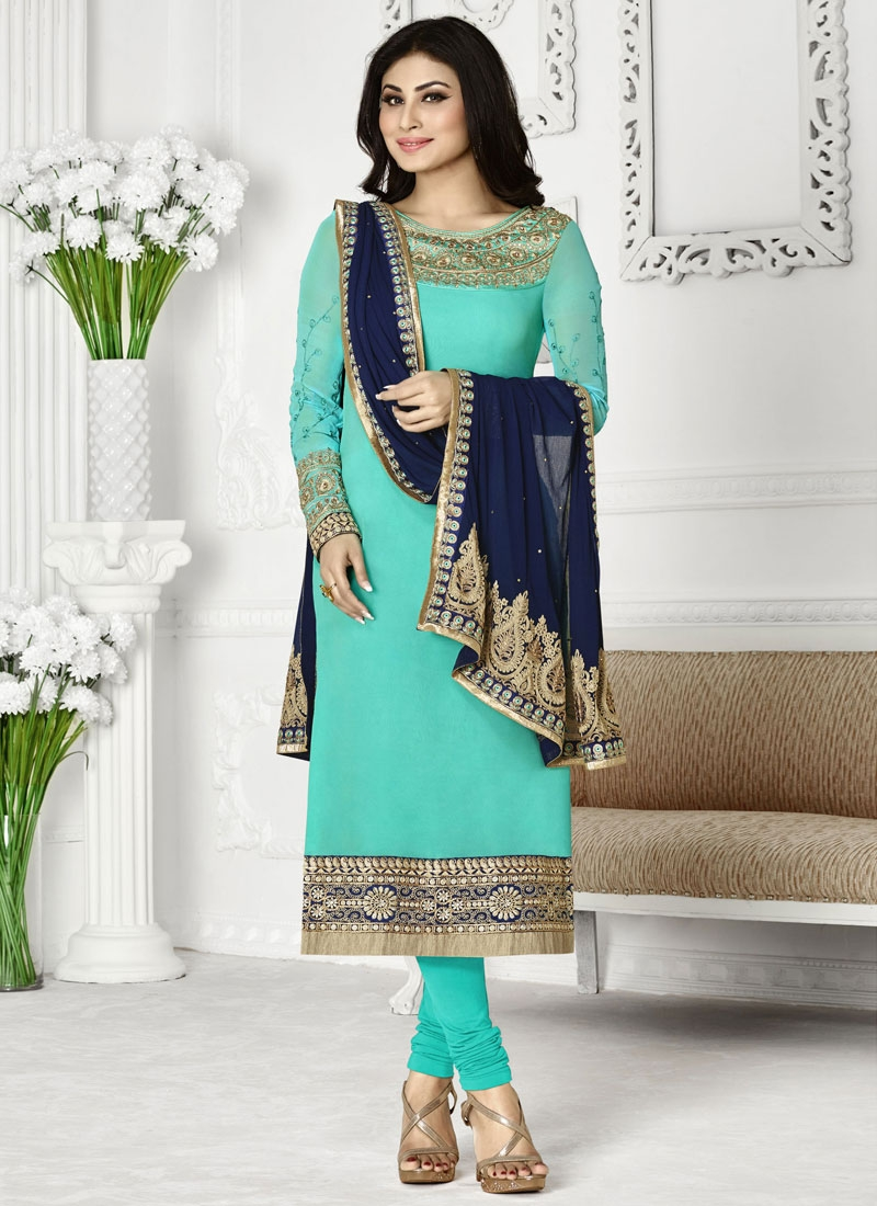 Auspicious Faux Georgette Mouni Roy Party Wear Salwar Kameez
