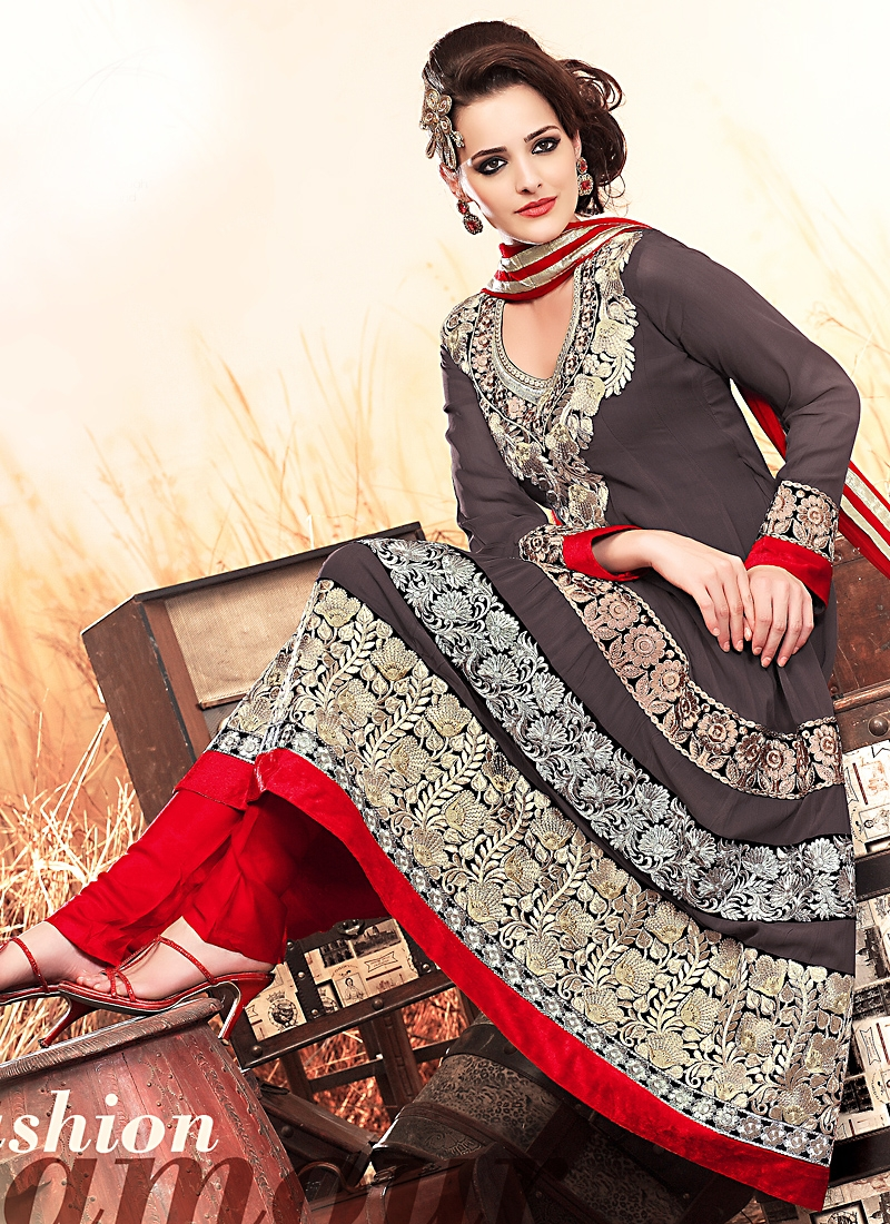 Auspicious Grey And Red Pakistani Suit