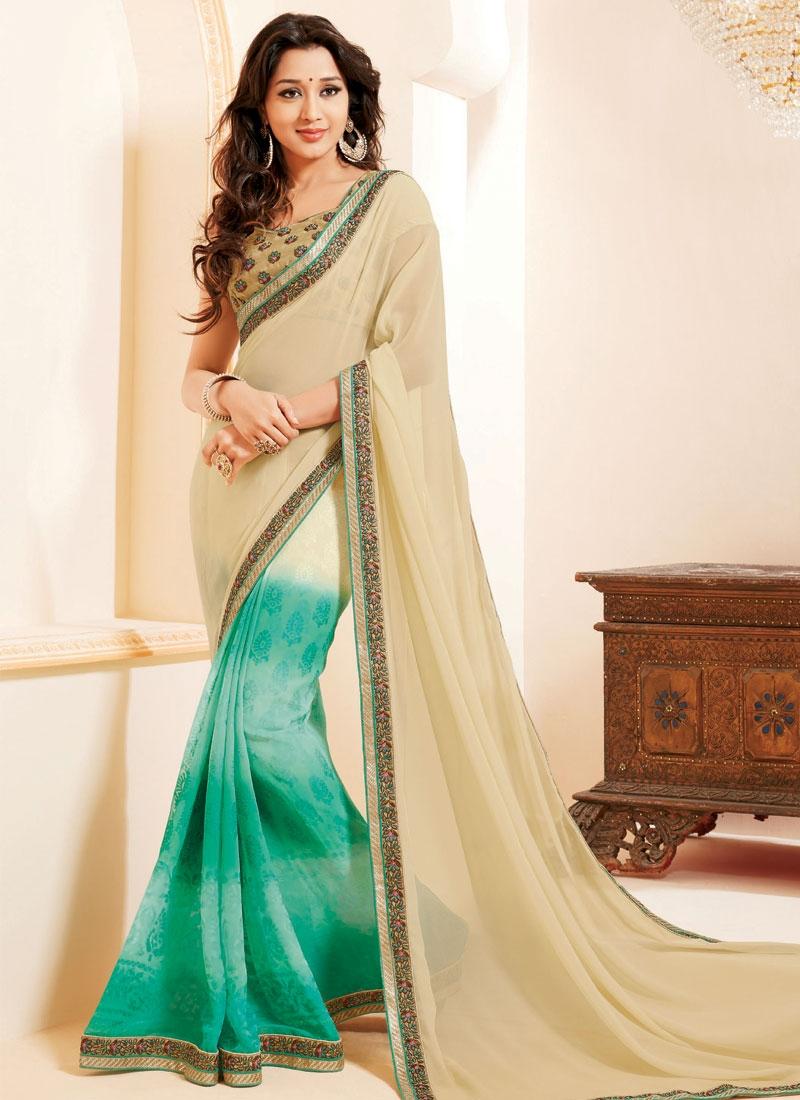 Auspicious Lace And Resham Work Half N Half Party Wear Saree
