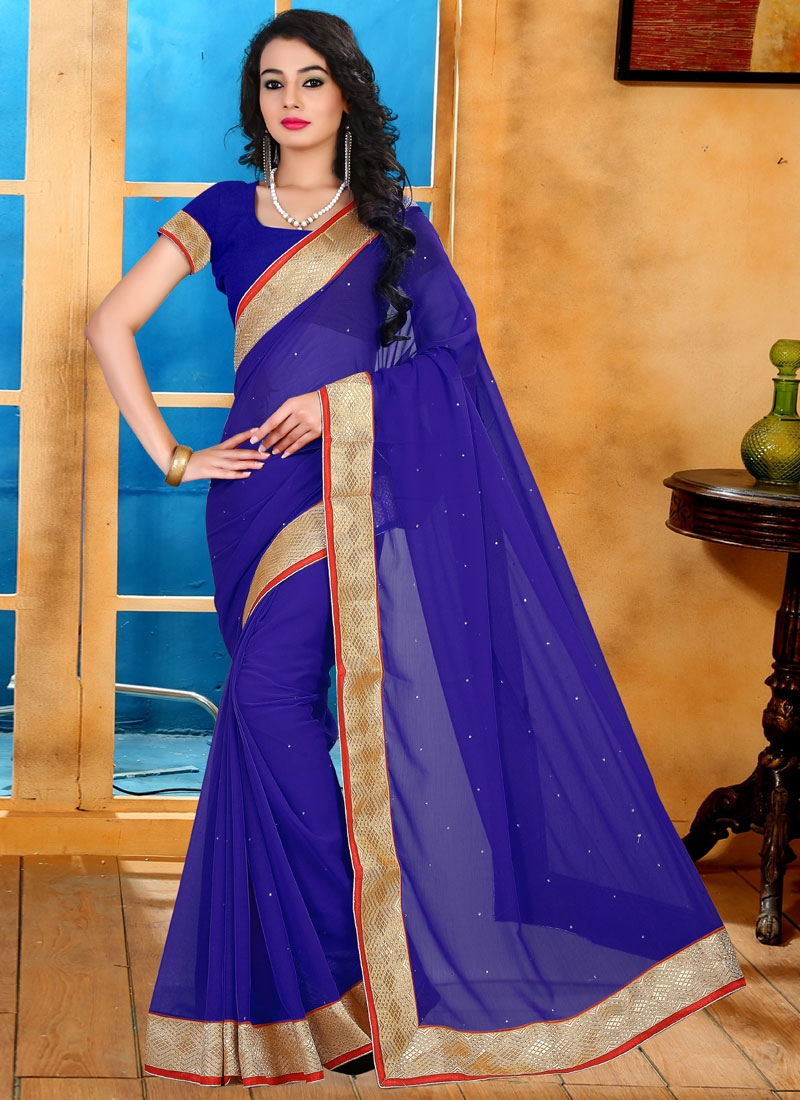 Auspicious Lace Work Casual Saree