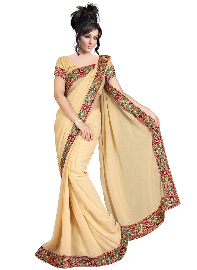 Auspicious Mirror Work Casual Saree