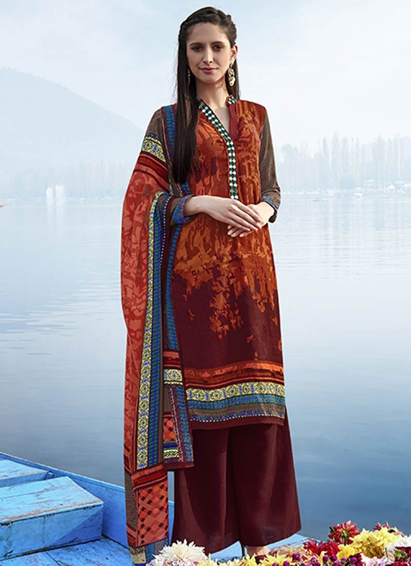 Auspicious Mirror Work Palazzo Style Casual Suit