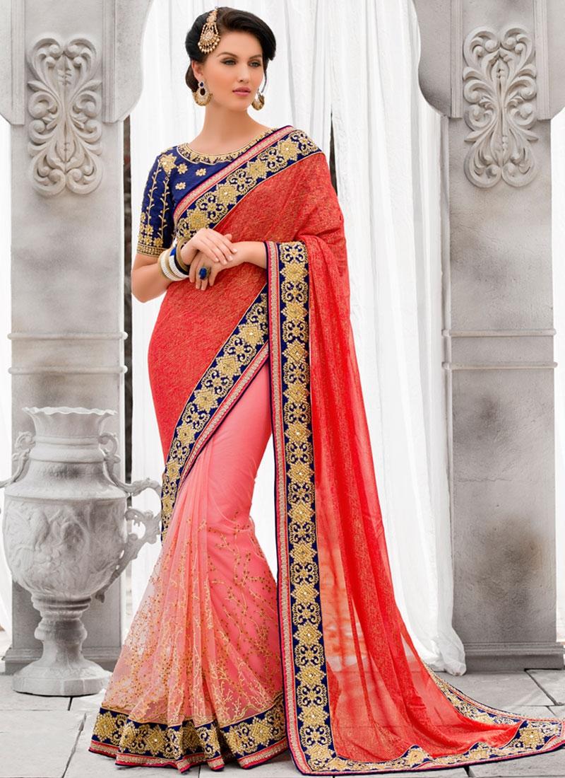 Auspicious Patch Border And Mirror Work Half N Half Wedding Saree