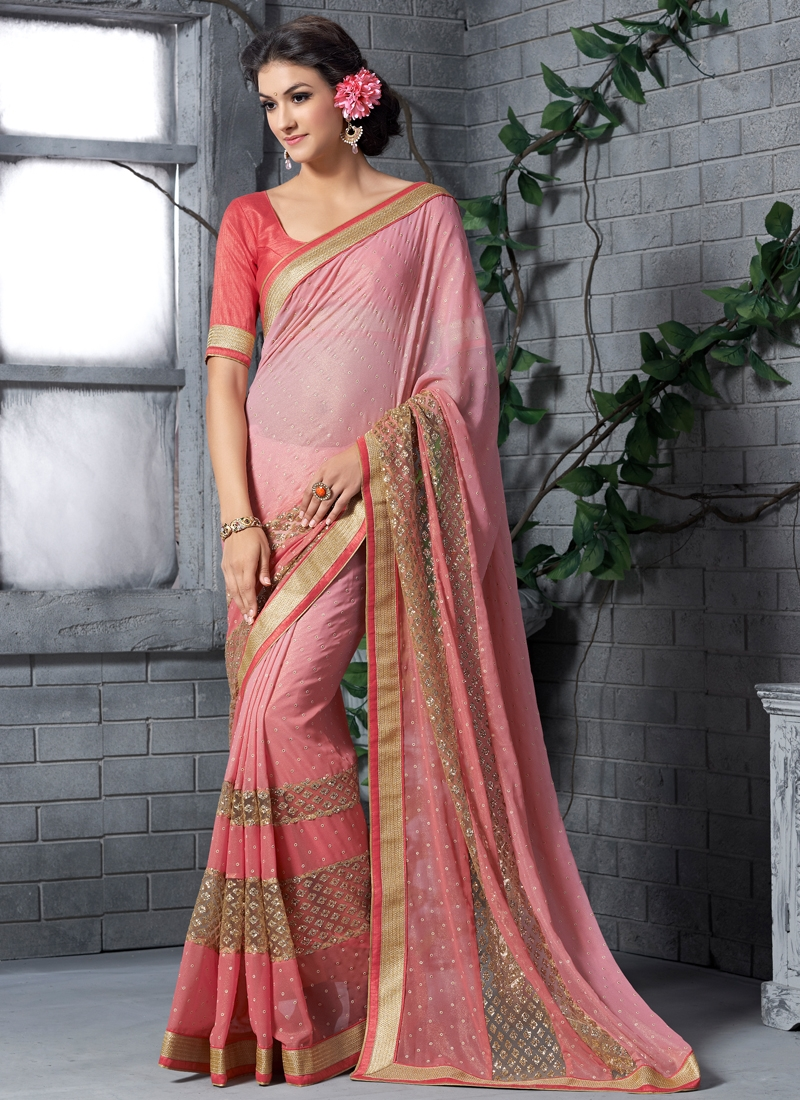 Auspicious Patch Border Work Party Wear Saree
