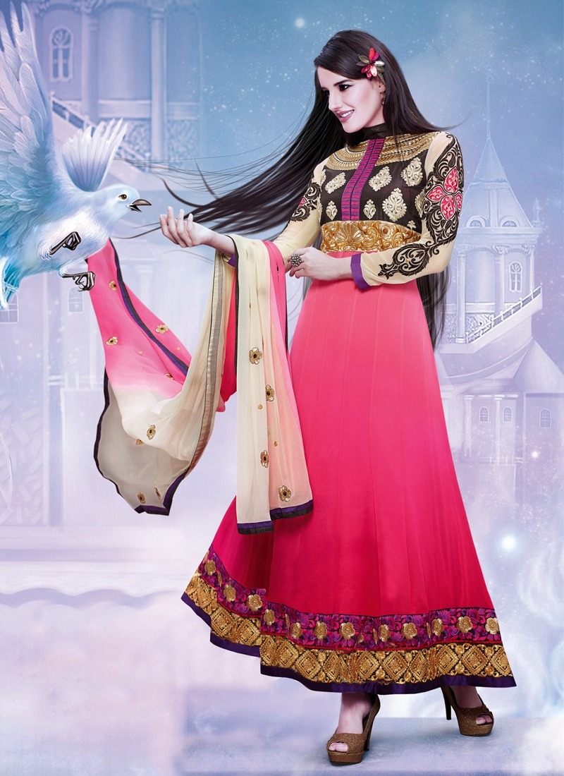 Auspicious Patch Work Anarkali Salwar Kameez
