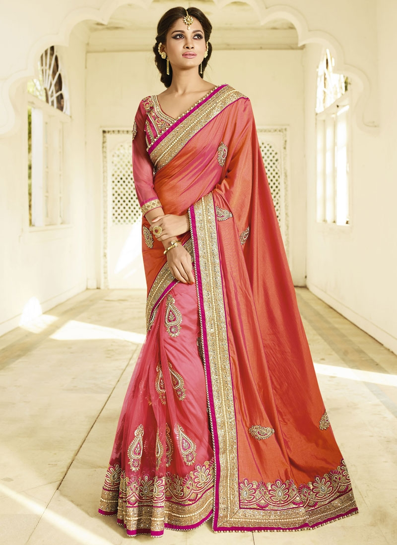 Auspicious Pure Chiffon And Net Half N Half Bridal Saree