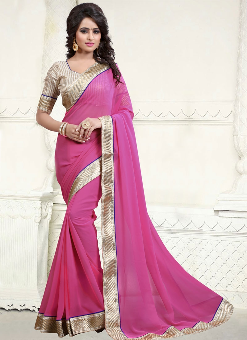 Auspicious Resham Work Faux Georgette Casual Saree