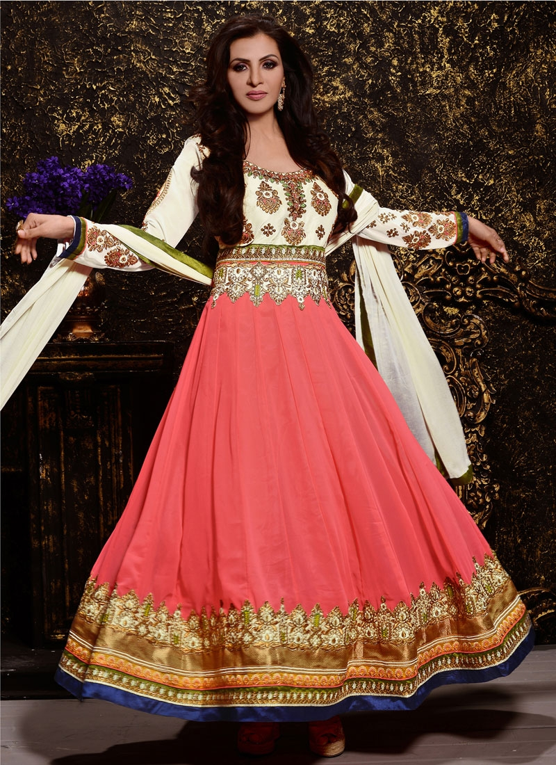 Auspicious Salmon Color Anarkali Salwar Suit