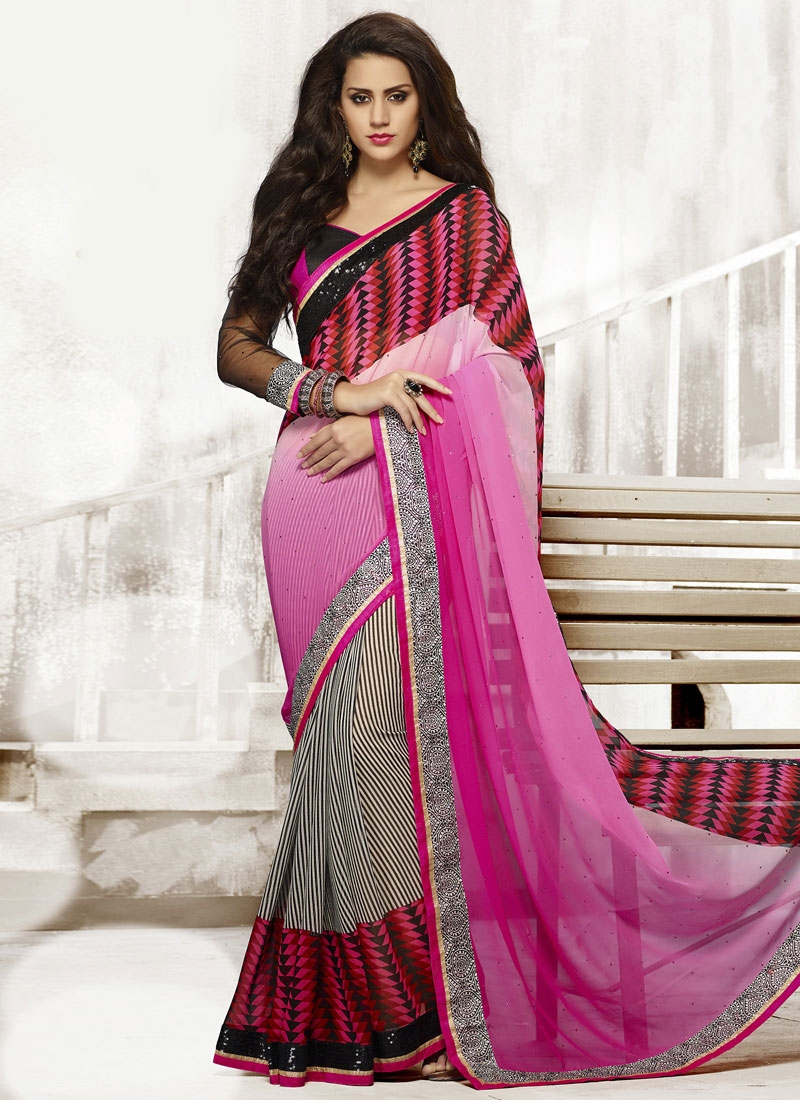 Auspicious Sequins And Lace Work Half N Half Casual Saree