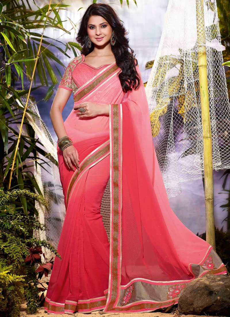 Auspicious Stone Work Jennifer Winget Party Wear Saree