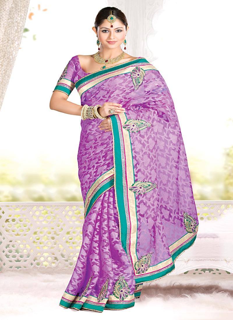Auspicious Violet Jacquard Party Wear Saree